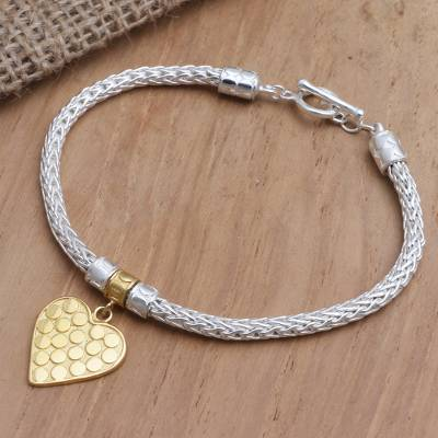 Gold-accented sterling silver charm bracelet, 'Golden Romance' - Hand Made Gold-Plated Heart Charm Bracelet from Bali