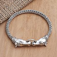 Sterling silver pendant bracelet, 'Twin Horses' - Sterling Silver Horse Head Chain Bracelet from Bali