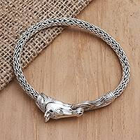 Sterling silver chain bracelet, 'Hungry Horse'