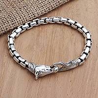Sterling silver chain bracelet, 'Strong Horse' - Hand Crafted Sterling Silver Horse Head Chain Bracelet