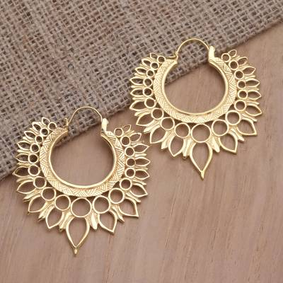 Gold-plated hoop earrings, 'Impeccable Queen' - Handmade Balinese Gold-Plated Brass Hoop Earrings