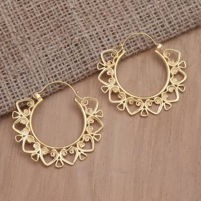Gold-plated hoop earrings, 'Heart Triangle' - Handmade Gold-Plated Filigree Hoop Earrings from Bali