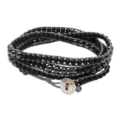 Hematite and Lava Stone Wrap Bracelet from Bali