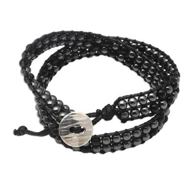 Handcrafted Onyx and Hematite Wrap Bracelet