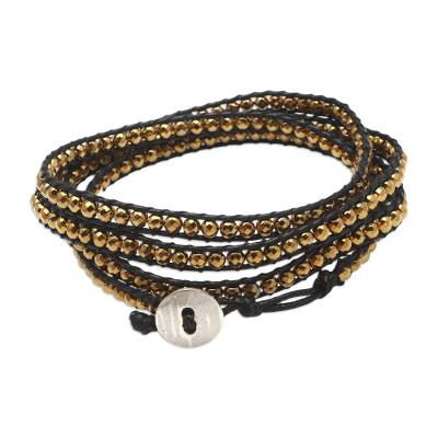 Artisan Crafted Hematite Wrap Bracelet from Bali