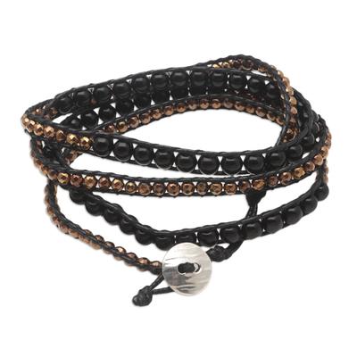 Handmade Onyx and Hematite Wrap Bracelet from Bali