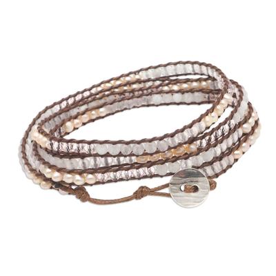 Rainbow Moonstone and Rose Quartz Wrap Bracelet