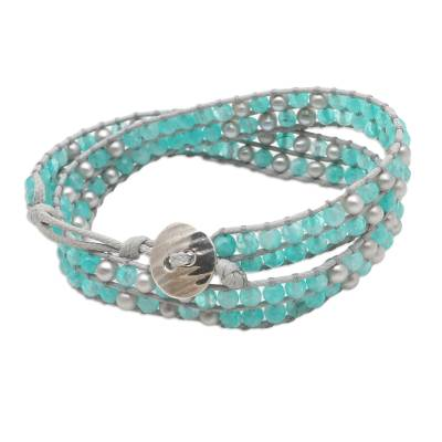 Amazonite and Cultured Pearl Wrap Bracelet