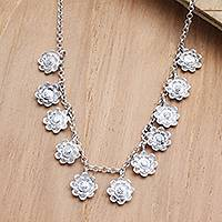 Sterling silver pendant necklace, 'Fun and Flirty' - Sterling Silver Floral-Motif Pendant Necklace
