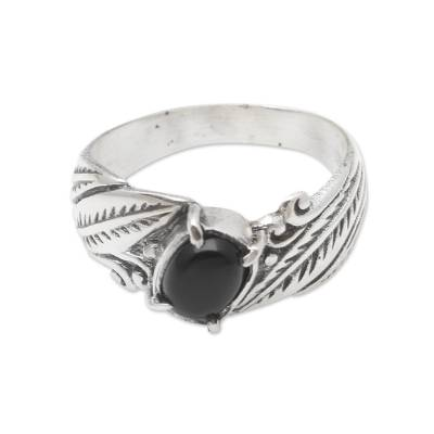 Sterling Silver and Onyx Single Stone Ring