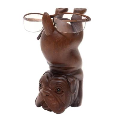 Suar Wood Dog-Themed Eyeglass Holder
