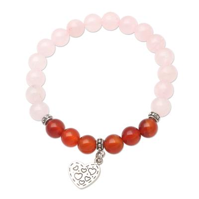 Rose Quartz and Carnelian Heart-Motif Charm Bracelet