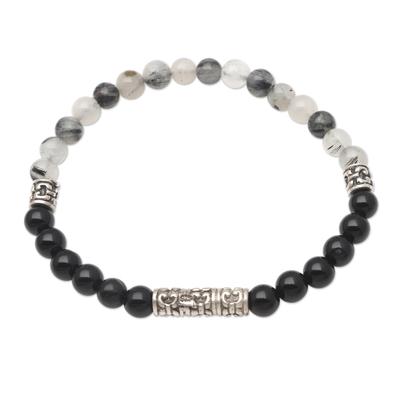 Artisan Crafted Onyx and Quartz Beaded Bracelet
