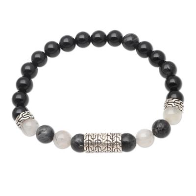 Onyx and Quartz Sterling Silver Beaded Bracelet