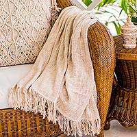 Handwoven cotton throw, 'Natural Warmth' - Handwoven Fringed Cotton Throw from Bali