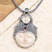 Garnet and rainbow moonstone pendant necklace, 'Mother Moon' - Garnet and Rainbow Moonstone Pendant Necklace