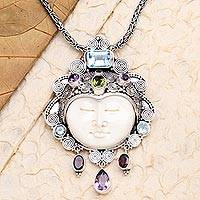 Multi-gemstone pendant necklace, 'Beautiful Moon' - Multi-Gemstone Pendant Necklace From Indonesia
