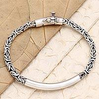 Sterling silver pendant bracelet, 'Temple Decorations' - Sterling Silver Borobudur Pendant Bracelet From Indonesia