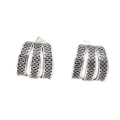 Sterling silver half-hoop earrings, 'Silver Spring' - Sterling Silver Handmade Balinese Small Half-Hoop Earrings