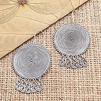 Sterling silver dangle earrings, 'Spinning Dreams' - Hand Made Sterling Silver Dangle Earrings