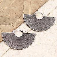 Sterling silver drop earrings, 'Groovy'