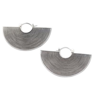 Sterling silver drop earrings, 'Groovy' - Handmade Sterling Silver Drop Earrings