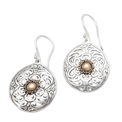Gold-accented dangle earrings, 'Beauty in Bali' - Gold-Accented Sterling Silver Dangle Earrings
