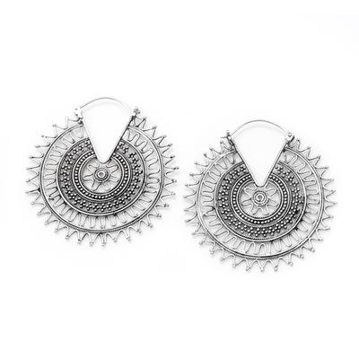 Sterling silver hoop earrings, 'Encouraging Sign' - Handmade Sterling Silver Hoop Earrings