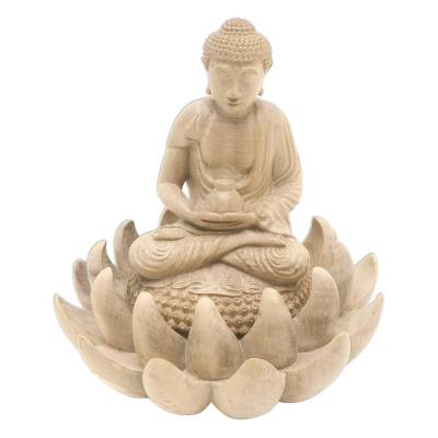 Hibiscus Wood Buddha and Lotus Flower Sculpture