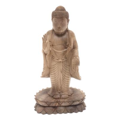 Hand Made Hibiscus Wood Buddha Sculpture