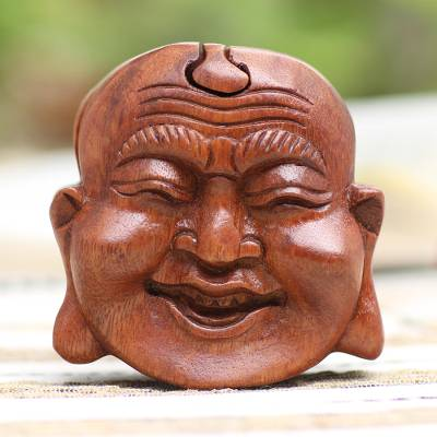Wood puzzle box, 'Buddha's Secret' - Buddha-Themed Suar Wood Puzzle Box