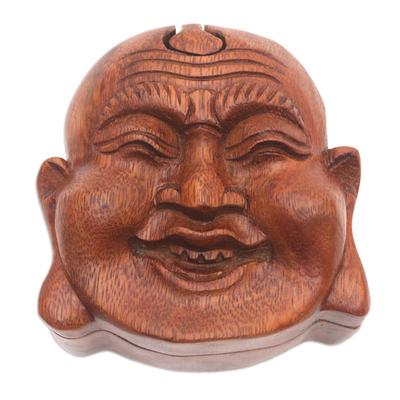 Buddha-Themed Suar Wood Puzzle Box