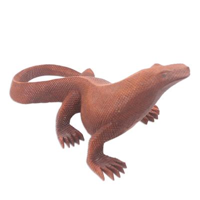 Hand Carved Suar Wood Komodo Dragon Statuette