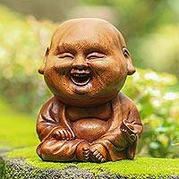 Wood sculpture, 'Smiling Baby Buddha'