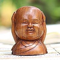 Wood sculpture, 'Gleeful Buddha'