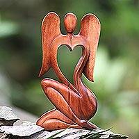 Wood statuette, 'Angelic Rhythm' - Hand Carved Suar Wood Angel Sculpture