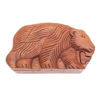 Hand Carved Suar Wood Bear Puzzle Box