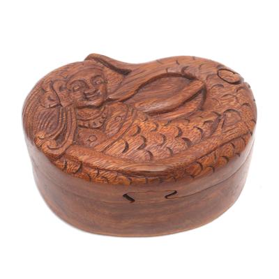 Wood puzzle box, 'Mermaid Dance' - Hand Carved Suar Wood Mermaid Puzzle Box