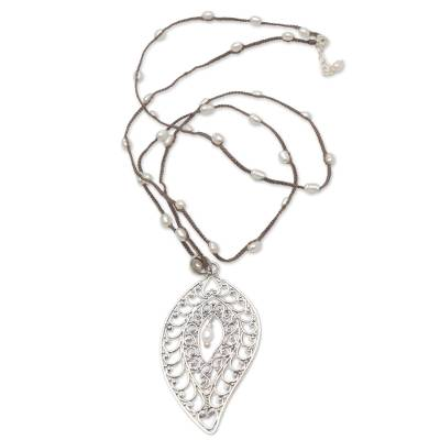 Cultured pearl pendant necklace, 'Miana Leaves' - Sterling Silver and Cultured Pearl Pendant Necklace