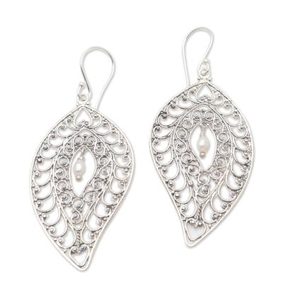 Cultured pearl dangle earrings, 'Miana Leaves' - Sterling Silver and Cultured Pearl Dangle Earrings
