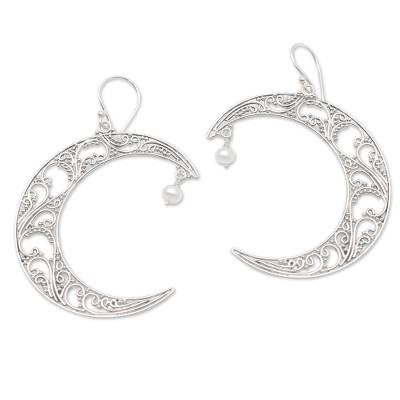 Cultured pearl dangle earrings, 'Crescent Couple' - Crescent Moon Cultured Pearl Dangle Earrings