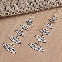 Sterling silver dangle earrings, 'Hand Fan'