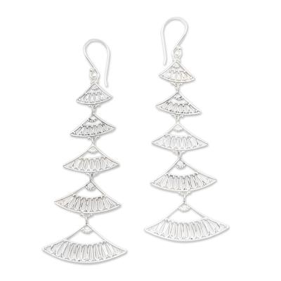 Sterling silver dangle earrings, 'Hand Fan' - Hand Crafted Sterling Silver Dangle Earrings