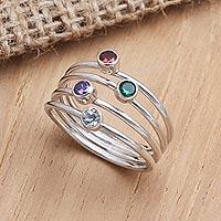Multi-gemstone ring, 'Rainbow Stepping Stones'