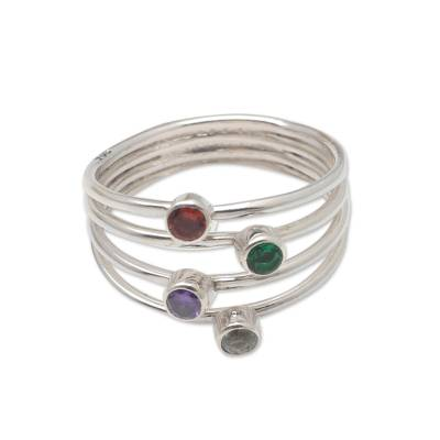 Multi-gemstone ring, 'Rainbow Stepping Stones' - Hand Crafted Amethyst and Garnet Ring