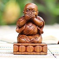 Wood sculpture, 'Say No Evil' - Hand Carved Suar Wood Buddha Sculpture