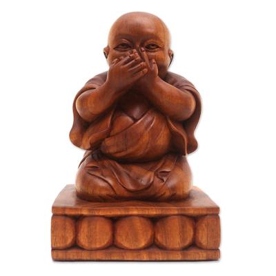 Hand Carved Suar Wood Buddha Sculpture