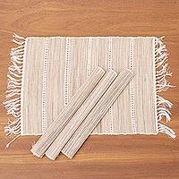 Natural fiber and cotton placemats, 'Soft Fringe' (set of 4) - Fringed Natural Fiber Placemats (Set of 4)