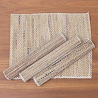 Natural fiber and cotton placemats, 'Balinese Mat' (set of 4) - Woven Natural Fiber and Cotton Placemats (Set of 4)