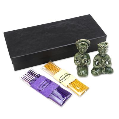 Artisan Crafted Ceramic Incense Set